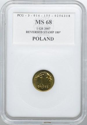 1 grosz 2007, skrętka 180°, PCG MS68