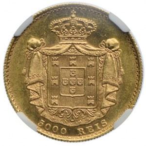 Portugalia, Ludwik I, 5000 reis 1889, NGC MS63