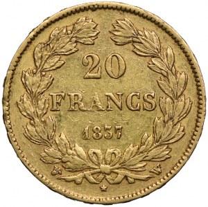 Francja, Filip I, 20 franków 1837 W, Lille