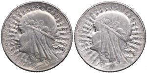 5 złotych 1932 bez znaku, 1934 Głowa Kobiety (2szt.)
