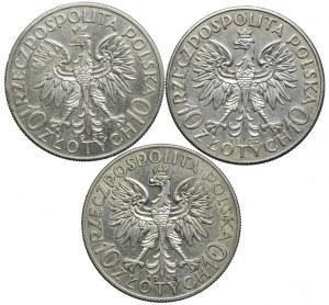 10 złotych 1932-1933 Głowa Kobiety (3szt.)