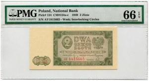2 złote 1948, seria AY, PMG 66