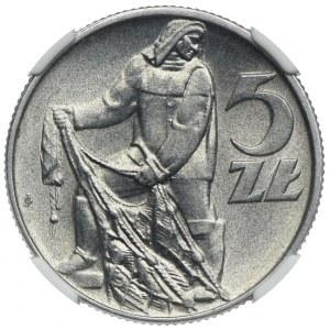 5 złotych 1958, Rybak, wąska 8, NGC MS64