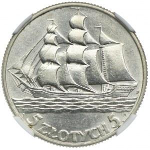 5 złoty 1936, Żaglowiec, NGC AU58
