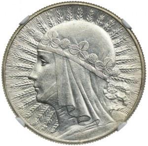 10 złotych 1932 zm, Warszawa, Głowa Kobiety, NGC AU58