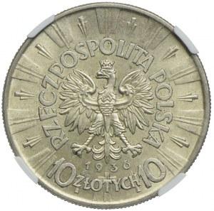 10 złotych 1936, Józef Piłsudski, NGC AU58