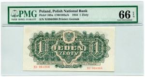 1 złoty 1944, seria XO, PMG 66