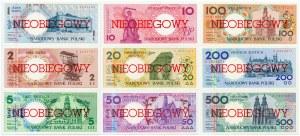 Miasta Polskie - zestaw - 1, 2, 5, 10, 20, 50, 100, 200, 500 złotych, emisja 1 marca 1990 - NIEOBIEGOWY