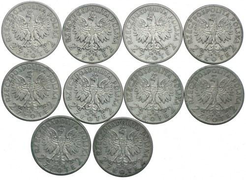 Zestaw, 2 złote 1932-1934 (10szt.)