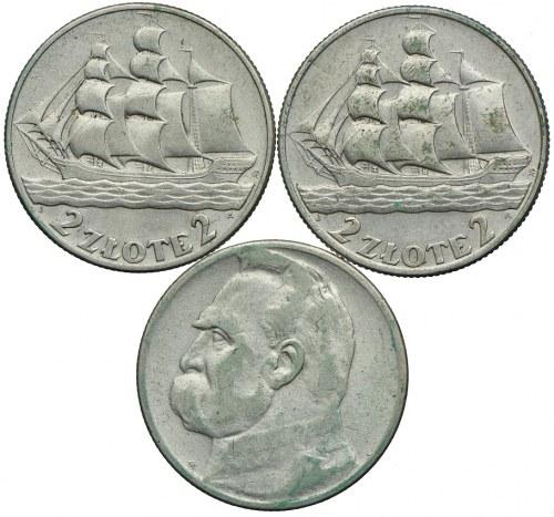 Zestaw, 2 złote 1936 Żaglowiec, 2 złote 1934 Józef Piłsudski (3szt.)