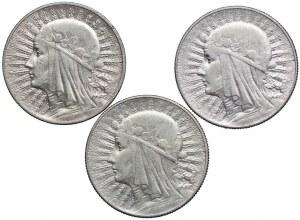 Zestaw, 5 złotych 1932-1934, Głowa Kobiety (3szt.)
