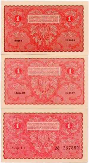 Zestaw banknotów 1 marka 1919 (3 szt.)