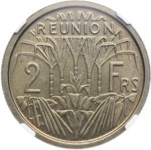 Reunion, 2 franki 1948 ESSAI, NGC MS66