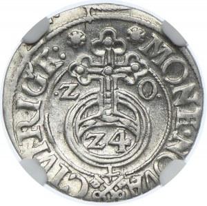 Zygmunt III Waza, półtorak 1620 Ryga, NGC AU53, rzadkie