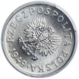 10 groszy 1949 Al, SKRĘTKA, PCGS MS65