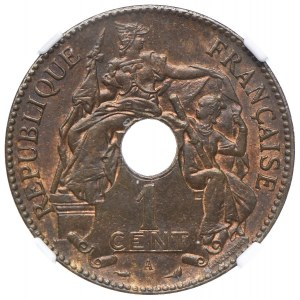 Indochiny Francuskie, 1 cent 1899 A, NGC MS64 BN