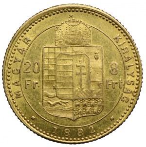 Węgry, Franciszek Józef, 20 franków=8 forintów 1882 KB, Kremnica