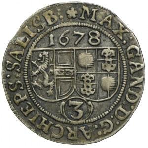Austria, Maksymilian Gandolf, 3 krajcary 1678