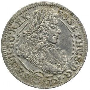 Śląsk, Śląsk pod panowaniem habsburskim, Józef I, 3 krajcary 1707 FN, Wrocław