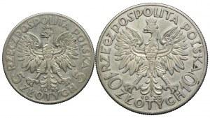 Zestaw, 5 złotych 1933, 10 złotych 1932 bez znaku, Głowa Kobiety (2szt.)