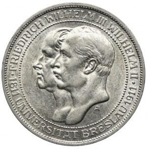 Niemcy, 3 marki 1911 A, Berlin, 100-lecie Uniwersytetu we Wrocławiu