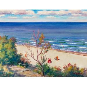 Stanisław Żurawski (1889-1976), Widok na plażę w Ustroniu Morskim, przed 1960