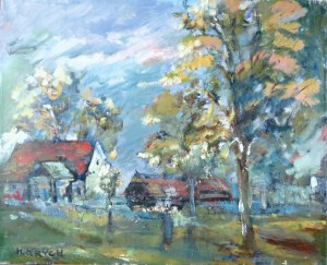 Henryk Krych (1905-1980), Pejzaż z wiejskimi chatami