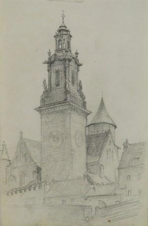 Józef Pieniążek (1888-1953), Widok na Wieżę Zegarową Katedry Wawelskiej