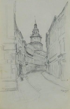 Józef Pieniążek (1888-1953), Ulica w Krakowie z widokiem na wieżę ratuszową, 1920