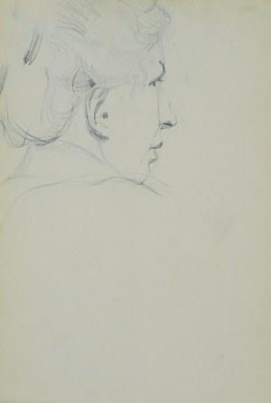 Włodzimierz Tetmajer (1861 - 1923), Głowa młodej kobiety ujęta z lewego boku, od tyłu, ok. 1900