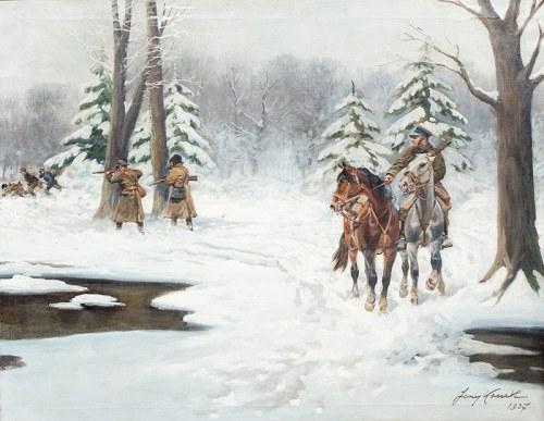 Jerzy Kossak (1886 Kraków - 1955 tamże), Zimowy patrol