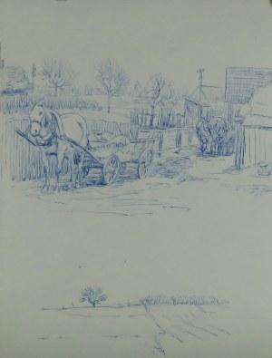 Ludwik Antoni Maciąg (1920-2007), Dwie kompozycje: wozy z końmi przy zagrodzie oraz pejzaż wiejski