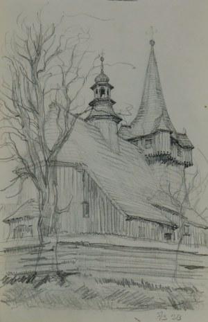 Józef Pieniążek (1888-1953), Widok na kościół w Woli Radziszowskiej , 1923