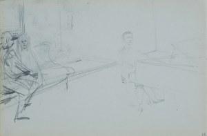 Włodzimierz Tetmajer (1861 - 1923), Mężczyzna przy fortepianie i para słuchaczy - szkic, ok. 1900