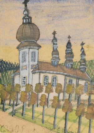NIKIFOR KRYNICKI (1895-1968), Kościół w mieście