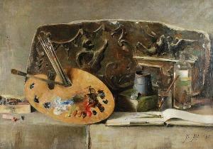 Berthe ART (1857-1934), Martwa natura z paletą, 1885