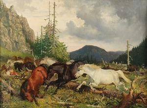 Józef JAROSZYŃSKI (1835-1900), Pejzaż z końmi uciekającymi przed niedźwiedziem