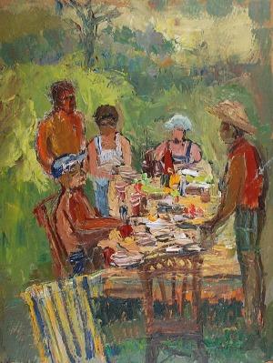 Charles Garabed ATAMIAN (1872-1947), Śniadanie w ogrodzie