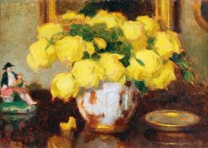 Alfons KARPIŃSKI (1875-1961), Żółte róże w wazonie z porcelanową figurką