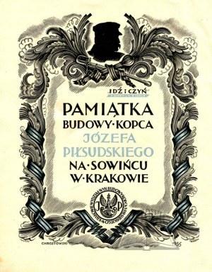 PAMIĄTKA budowy Kopca Józefa Piłsudskiego na Sowińcu w Krakowie.