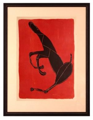 Marino Marini [1901-1981 r.] Czarny koń na czerwonym tle, 1953