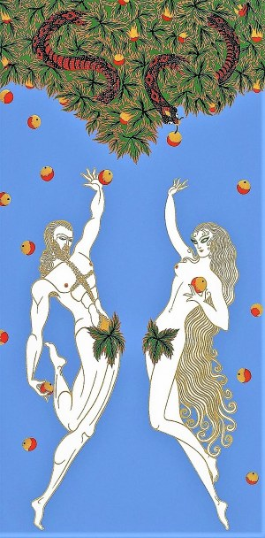 ERTÉ (Romain de TIRTOFF) [1892-1990] Adam i Ewa (Adam and Eve), 1982