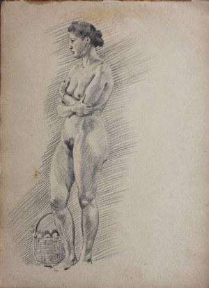 Ludwik Maciąg (1920-2007), Akt stojącej kobiety z koszem