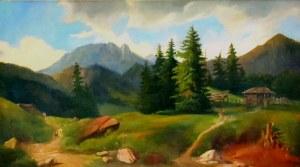 Alfred Schouppe (1812-1899), Krajobraz tatrzański pod Giewontem (góra Giewont w Tatrach)