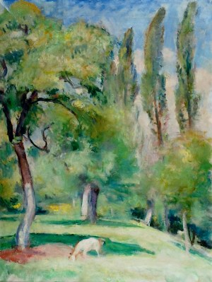 Wojciech Weiss (1875-1950), Pejzaż z kozą