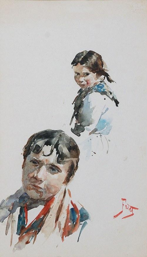 Julian FAŁAT (1853-1929), Studia głów młodzieńca i dziewczynki
