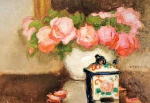 Alfons KARPIŃSKI (1875-1961), Róże i porcelanowe puzderko