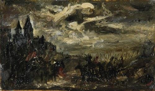 """Józef BRANDT (1841-1915), Szkic do obrazu """"Czarniecki pod Koldyngą"""" [Nokturn - pochód Kozaków], ok. 1869"""