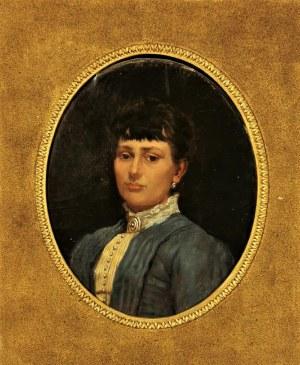 Malarz nieokreślony, XIX w., Portret damy w niebieskiej sukni