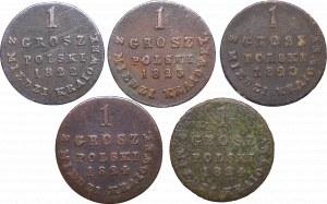 Królestwo Polskie, Zestaw 1 grosz 1822-1824
